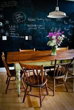 love the farm house table and chalkboard wall - doing this in my kitchen someday!