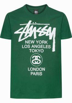 Stuessy World-Tour, T-Shirt, darkgreen Titus Titus Skateshop #TShirt #MenClothing #titus #titusskateshop