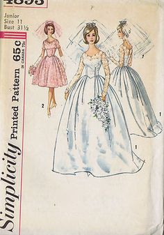 Vintage 60's Wedding Gown and Bridesmaid Dress Pattern Dress has scalloped V neckline, set-in sleeves, lowered front waistline pointed at center and s full softly skirt. Under Dress has horsehair encased in hem. View 1 has long sleeves with button closing at lower edges. Back button closing and View 2 has short scalloped sleeves and back zipper closing with bow trim.