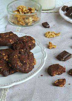 Nem acredito que é saudável!: Biscoitos de chocolate e nozes (vegan). Chocolate walnut cookies (vegan)