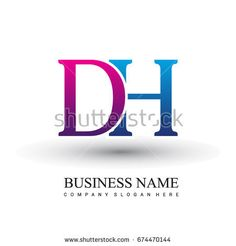 initial letter logo DH colored red and blue, Vector logo design template elements for your business or company identity