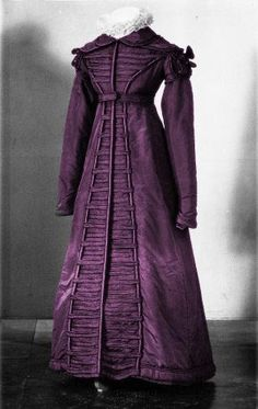 Amazing Purple Redingote (1822-23) This style is known as  'Redingote à la Hussar' because it is trimmed with parallel rows of horizontal braid or tucks across the bodice and down the front of the gown, in the fashion of Hussars' uniforms.