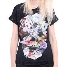 Distressed Vintage 'Flower Skull' Top $44.40 (a favourite gothic punk clothes repin of VIP Fashion Australia )