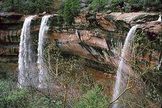 Emerald Pools waterfalls, Zion Canyon, Utah