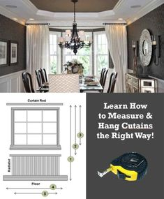 Installing curtains is a popular decorating project. What's challenging: how tall & wide curtains should be so we show you how to buy & install your curtains Home Decor Bedroom, Living Room Decor, Installing Curtain Rods, Wide Curtains, Hanging Curtain Rods, Ikea, Love Your Home, Home Hacks, Home Improvement