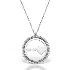 Colier argint cu pietre 42 cm Puls Inima - MCN0038 Diamond, Silver, Jewelry, Heart Rate, Jewlery, Jewerly, Schmuck, Diamonds, Jewels