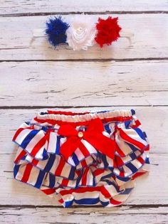 FAST SHIPPING 4th of July baby  toddler satin ruffle bloomers, headband separate, red white and blue, diaper cover, baby girl, photo prop @Etsy