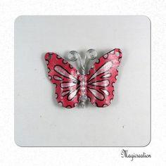 breloque papillon vinyle rose et argenté 4.5 cm