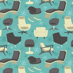 Chair Blue Repeat by Alyssa Nassner Mid Century Modern Art, Mid Century Design, Textile Patterns, Textile Prints, Textiles, Patterned Chair, Pretty Patterns, Fun Patterns, Mid Century Chair