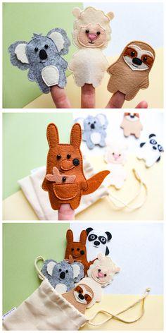 56 Ideas For Baby Toys Felt Finger Puppets Felt Puppets, Felt Finger Puppets, Hand Puppets, Baby Toys, Kids Toys, Finger Puppet Patterns, Felt Books, Montessori Toys, Sewing Toys