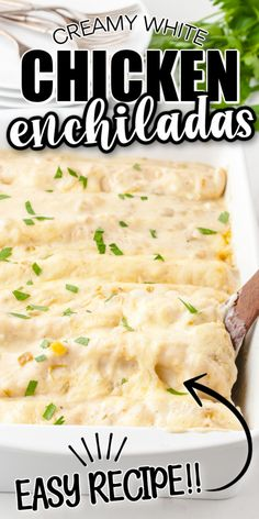 Easy White Chicken Enchiladas are made with flour tortillas, shredded chicken, mozzarella cheese, and a white creamy sauce. This simple casserole dish can be ready in just 40 minutes start to finish, which makes it an easy weeknight dinner. Easy Casserole Dishes, Casserole Recipes, Chicken Casserole, Rice Casserole, Enchilada Ingredients, Enchilada Recipes, Mexican Dishes, Mexican Food Recipes, Mexican Entrees