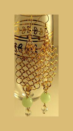 jade green earrings gold earrings chandelier by NezDesigns on Etsy, $10.00