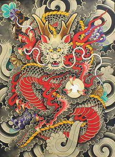 Billedresultat for japanese tattoo body suit print Japanese Dragon Tattoos, Japanese Tattoo Art, Japanese Tattoo Designs, Japanese Painting, Japanese Art, Dragon Art, Dragon Moon, Lion Dragon, Traditional Japanese Tattoos
