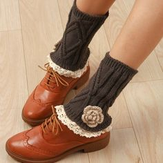 Pair of Chic Flower Shape and Lace Embellished Knitted Boot Cuffs For Women