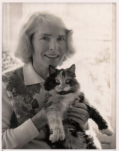 Margaret Bourke-White and Cat, Darien, Connecticut  Ansel Easton Adams  (American, San Francisco, California 1902–1984 Carmel, California)    Person in photograph:      Margaret Bourke-White (American, Bronx, New York 1904–1971 Darien, Connecticut)  Date:      1964