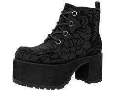 bd61fb6b2 Black Burn Out Velvet Nosebleed Boot Black Platform Boots
