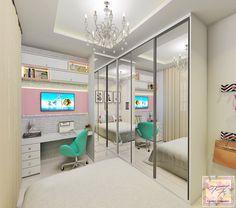 | QUARTO DA JOVEM | Projeto lindo criado para uma moça que adora branco. ✨ Super Clean e Moderno! Por: Tamires Fernandes Arquitetura e Interiores