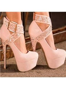 51078b1ccb8 Fashion White Suede Ankle Wrap Platform Stiletto Heels With Buckle Pink  Shoes