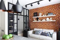 pared ladrillo estanterias blancas moderno bonito salon