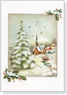 Vintage Winter Church Boxed Christmas Cards (Greeting Cards) | eBay