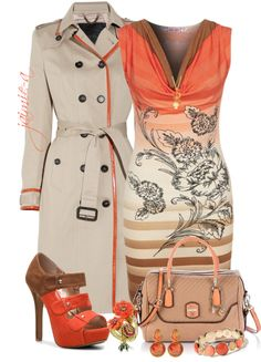 """""""Orange Trimmed Trench"""" by jaimie-a on Polyvore"""