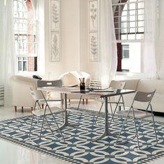 Blue, Beige (Philippa) Outdoor / Indoor Area Rug Vinyl Floor Mat, Vinyl Rug, Vinyl Flooring, Floor Cloth, Floor Rugs, Mad Hatter Tea, Warm Colors, Indoor Outdoor, Area Rugs