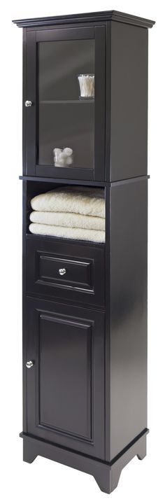 """Features:  -Material: Solid/composite wood.  -Color: Black.  -Spot clean.  -Comes with 1 glass door.  Base Material: -Manufactured wood. Dimensions:  Overall Height - Top to Bottom: -70.87"""".  Overall"""