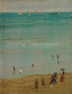 James Abbott McNeill Whistler, Harmony in blue and pearl: The Sands, 1885 James Ingram, James Abbott Mcneill Whistler, Art Quiz, A Moment In Time, First Art, Sands, American Artists, Impressionist, Watercolors