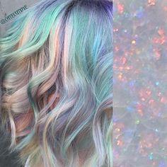 Opal hair!  Kevin Murphy bleach with olaplex then all pravana pastels! Peach, mint, lavender, baby blue and baby pink!  @catcutdye