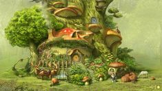 Mushroom House by ha-min on DeviantArt Fantasy Village, Fantasy Forest, Mushroom House, Mushroom Art, Garden Drawing, Nature Drawing, House Illustration, Fantasy Illustration, Village Drawing