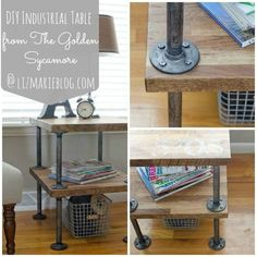 DIY industrial table made form IKEAbutcher block and distressed galvanized plumbing supplies