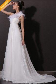 Empire Feather One Shoulder Chiffon Beach Wedding Dress JSWD0014