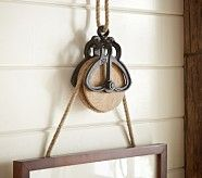 rustic pulley frame hanger with rope   Pottery Barn Kids