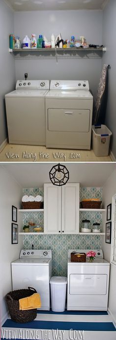 Laundry makeover- I love the idea of putting up an old cabinet and some shelves for the laundry room. Could use a little brightening colors though to make it look more pretty :)