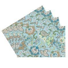 Raymond Waites Premium Quality Reversible Placemats - Set of 4 (Aqua/Multicolored Flowers Pattern) - Placemat 14 in x 18 in Raymond Waites,http://www.amazon.com/dp/B00HVL5556/ref=cm_sw_r_pi_dp_3zSptb0WE36V6JD9