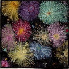 "Helen Marshall teaches FIREWORKS - ""A small wall panel of black and starry colourwashed squares is embellished with machine embroidery to depict fireworks. This is a simpler version of my award winning quilt, see Gallery. Suitable for students with accurate machining skills. There's a page of student versions on the same site"