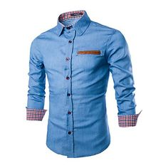 Men's+Long+Sleeve+Shirt+,+Others+Casual+–+USD+$+12.99
