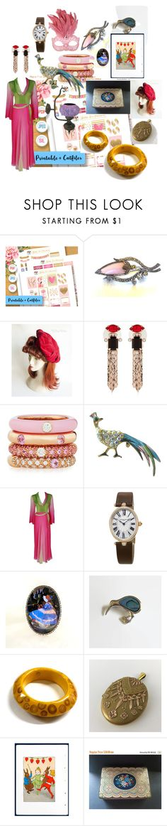 """Treasure Trove"" by paulinehuddert on Polyvore featuring Mawi, Masquerade, Adolfo Courrier, Pauline Trigère, Frédérique Constant and vintage"