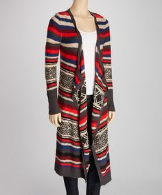 Another great find on #zulily! Ash Gray & Red Tribal Stripe Open Cardigan #zulilyfinds