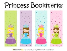 Free printable princess bookmarks. Each bookmark includes a princess in a different color scheme on a polka dot background. Download the PDF template at http://bookmarkbee.com/bookmark/princess/