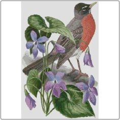State Symbols in Cross Stitch - Wisconsin American Robin and Wood Violet #Wisconsin