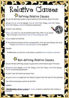 Relative Clauses INTERMEDIATE - In this worksheet you will find an explanation on the difference between Defining and Non-defining Relative Clauses plus a simple exercise to practise the relative pronouns. Thanks! Cha.  - ESL worksheets
