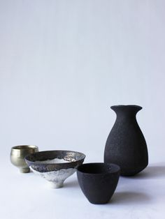 Tokkuri (sake bottle)(Black) - RYOTA AOKI POTTERY