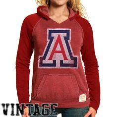 Original Retro Brand Arizona Wildcats Women's Two-Toned V-Neck Hooded Sweatshirt - Cardinal