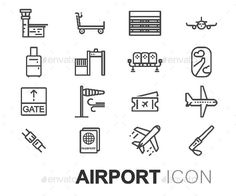 Airport Icons Set by skarin Vector line Winter Icons Set on white background