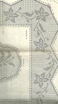Milena64 Crochet Edging Patterns, Crochet Borders, Filet Crochet, Crochet Curtains, Crochet Doilies, Crochet Flowers, Cross Stitch Alphabet Patterns, Cross Patterns, Needlework