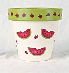 Summertime Painted Clay Pots, Painted Flower Pots, Painted Mason Jars, Clay Pot Projects, Clay Pot Crafts, Cool Diy Projects, Watermelon Crafts, Watermelon Flower, Watermelon Patch