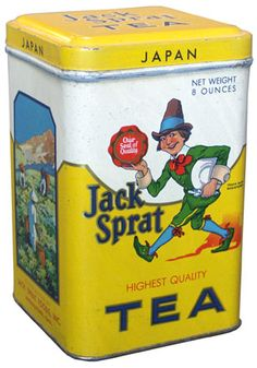 """Jack Sprat Tea tin ... 'Highest Quality ... Japan"""" lettering and gnome or leprechaun figure in green suit, scene from Asian tea garden, mid 20th century"""