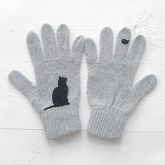 Cat & Bird Gloves Grey