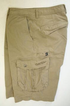 SOLD! Quiksilver Aussie Warlord Khaki Cargo Shorts Embroidered (Mens 33) Zipper 2583 #Quiksilver #CargoShorts